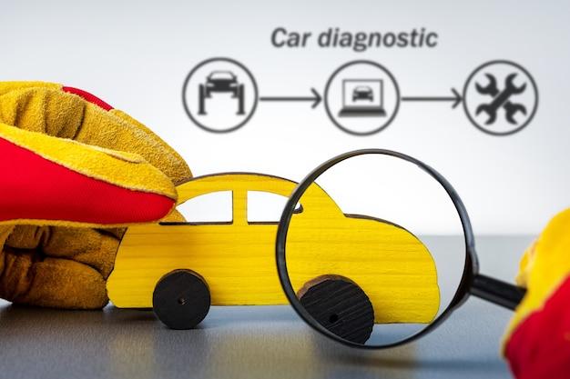 Mechaniker, der gelbes auto mit lupe untersucht. diagnose automobilkonzept.