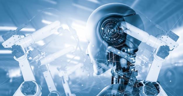 Mechanisierter industrie-cyborg-roboter und roboterarme in der zukünftigen fabrik