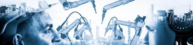 Mechanisierter industrieroboter und menschlicher arbeiter arbeiten in der zukünftigen fabrik zusammen