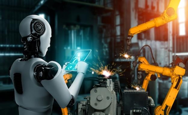 Mechanisierter industrieroboter und roboterarme für die montage in der fabrikproduktion.
