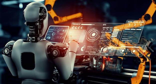 Mechanisierter industrieroboter und roboterarme für die montage in der werksproduktion.
