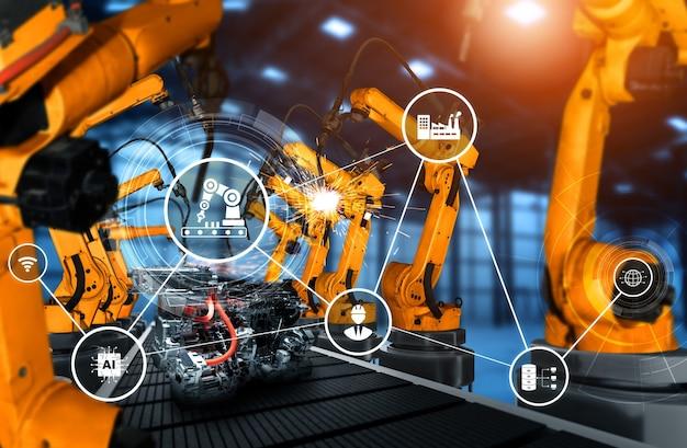 Mechanisierter industrieroboterarm für die montage in der fabrikproduktionslinie