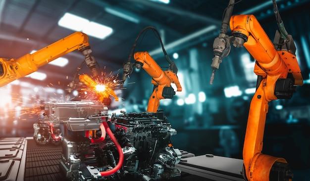 Mechanisierter industrieroboterarm für die montage in der werksproduktionslinie