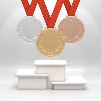 Medaillen und podium