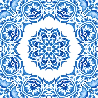 Medaillon-damast-aquarell blau und weiß handgezeichnete fliese nahtlose ornamentale farbmuster