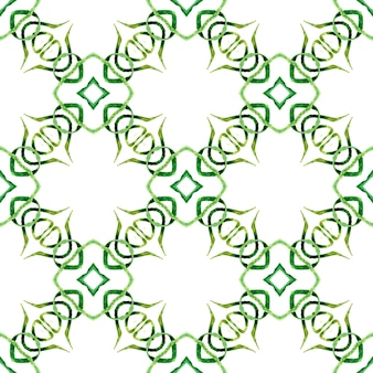 Medaillon nahtloses muster. grünes herausragendes boho-chic-sommerdesign. nahtlose grenze des aquarellmedaillons.