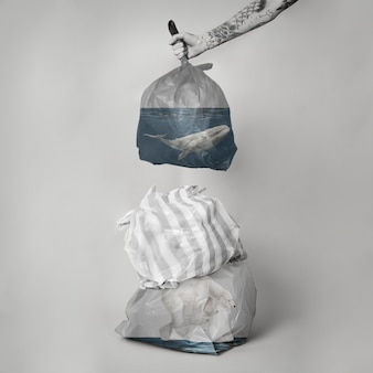 Medienremix der kampagne zur reduzierung der meeresverschmutzung durch einwegplastik