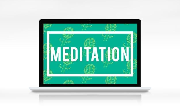 Meditationswort auf grünem hintergrund