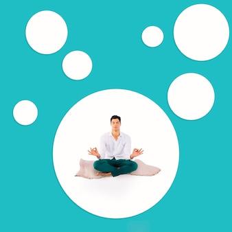 Meditierender mann des vollen schusses auf teppich