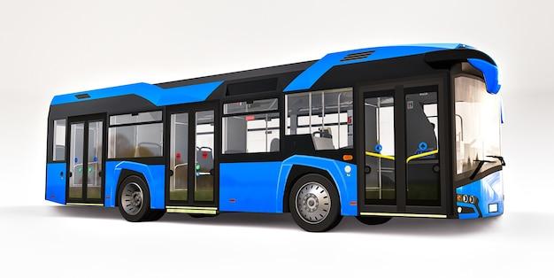 Mediun städtischer blauer bus auf einem weißen isolierten hintergrund
