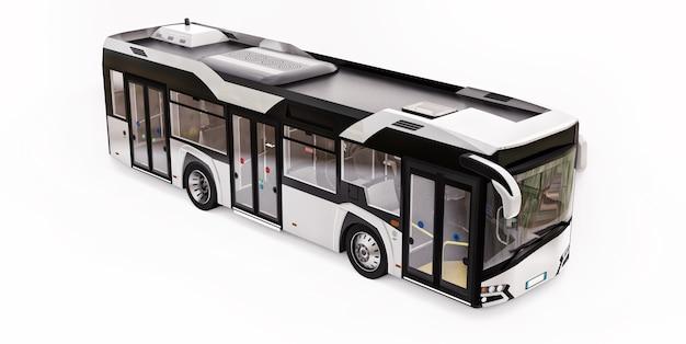 Mediun städtischer weißer bus auf einem weißen isolierten hintergrund. 3d-rendering.