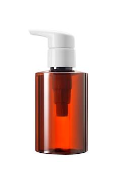 Medizin oder kosmetische flasche des braunen glases oder des plastiks mit der weißen pumpentropfer lokalisiert auf weißem hintergrund