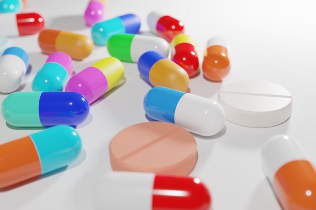 Medizin-tab-kapselpille und drogentablette mischen farbe bunt auf weißem 3d-rendering.