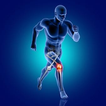 Medizinische 3d-figur, die mit hervorgehobenem knieknochen läuft
