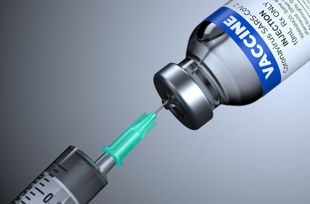 Medizinische ampulle mit covid-19-impfstoff. der impfstoff gegen das coronovirus covid-19 auf schwarzem hintergrund und einer spritze. 3d-illustration