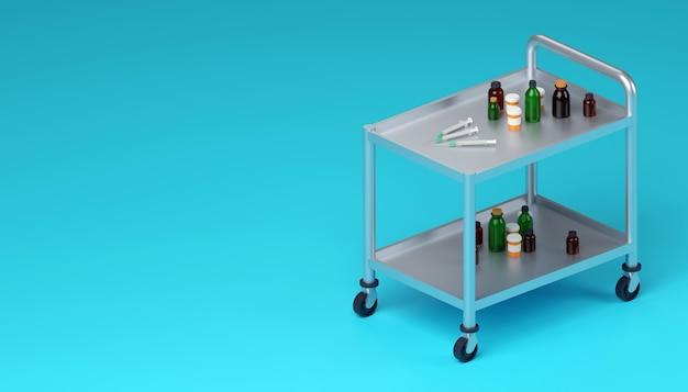 Medizinische ausrüstung für die impfung auf der isometrischen 3d-darstellung des medizinischen schrankwagens