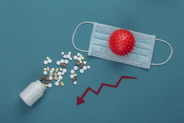 Medizinische gesichtsmaske, modell des virusstamms, pillen mit rotem fallendem pfeil, der auf blau neigt