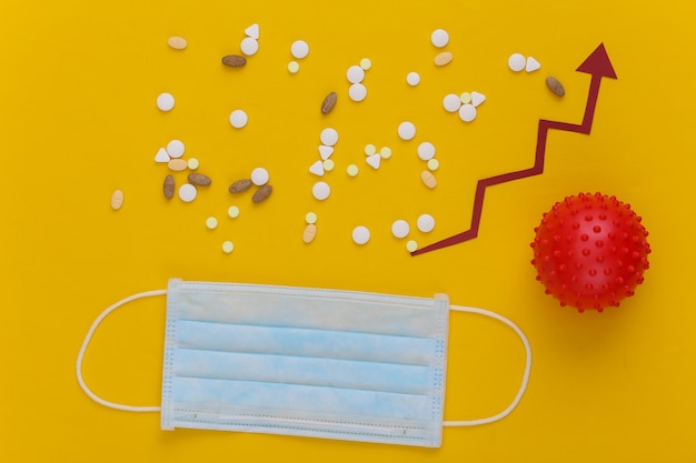 Medizinische gesichtsmaske und modell des virusstamms, pillen mit wachstumspfeil, der auf gelb nach oben neigt.