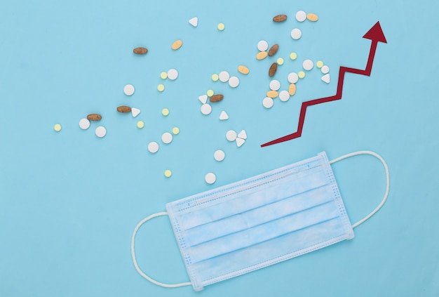 Medizinische gesichtsmaske und tablettenflasche mit nach oben tendierendem wachstumspfeil auf blau