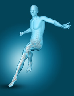 Medizinische männliche zahl des mannes 3d, die auf einem fuß landet