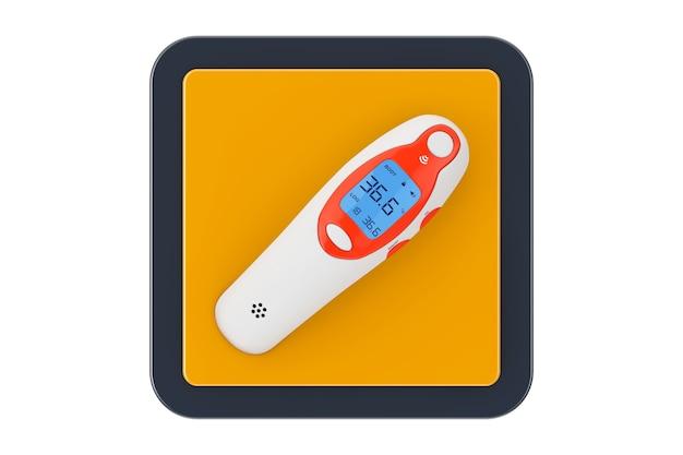 Medizinische ohr-infrarot-digital-thermometer als touchpoint-web-symbol-schaltfläche auf weißem hintergrund. 3d-rendering
