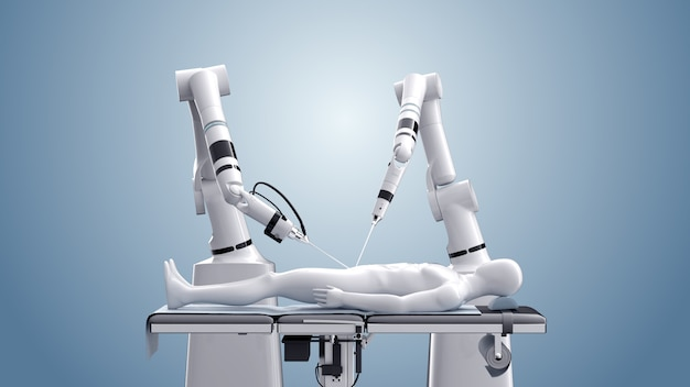 Medizinische roboterchirurgie. moderne medizintechnik. roboterarm lokalisiert auf blau. 3d-rendering
