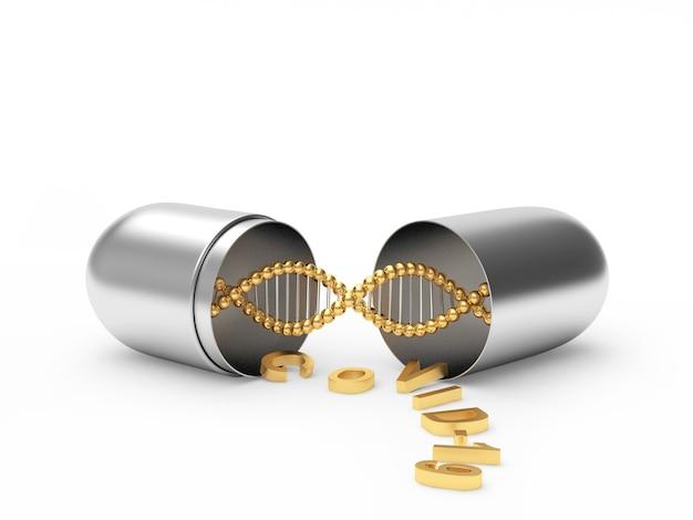 Medizinische silberkapsel mit dna-helix und covid-19-symbol