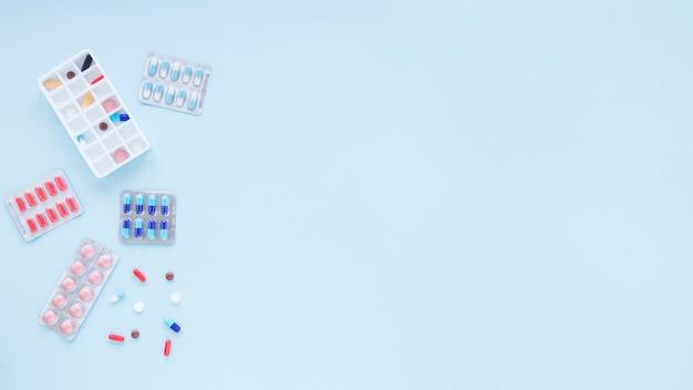 Medizinische zusammensetzung der flachen lage mit copyspace