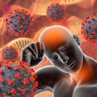 Medizinischer 3d-hintergrund mit covid 19-viruszellen und männlicher figur mit fieber und halsschmerzen