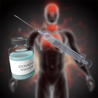 Medizinischer 3d-hintergrund mit covid-impfstoff gegen defokussiertes männliches figurenbild