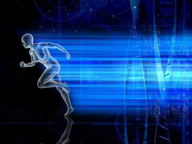 Medizinischer 3d-hintergrund mit laufender männlicher figur
