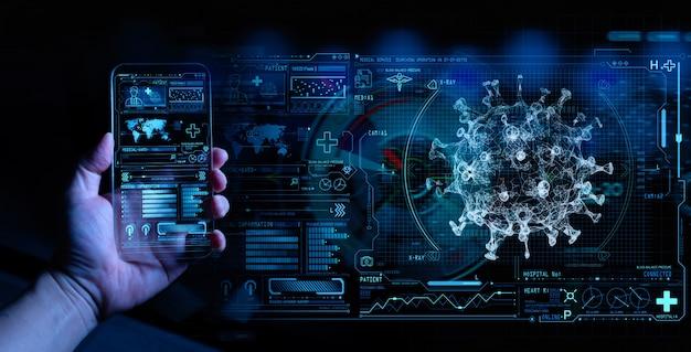 Medizinischer arzt, der mit einem modernen smartphone-computer im labor mit einem biologischen ar zur analyse und probenahme von covid-19-infektionskrankheiten arbeitet.