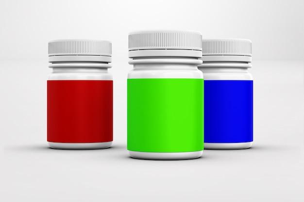Medizinischer behälter mit leerem etikett