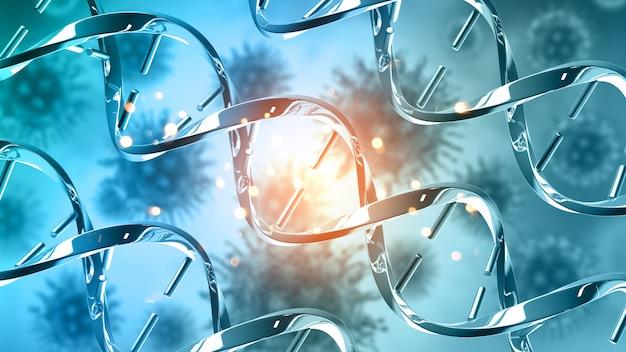 Medizinischer hintergrund 3d mit abstrakten dna-strängen