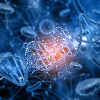 Medizinischer hintergrund 3d mit abstrakten viruszellen und dna-strang