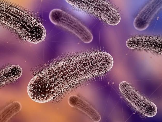 Medizinischer hintergrund 3d mit abstrakten viruszellen
