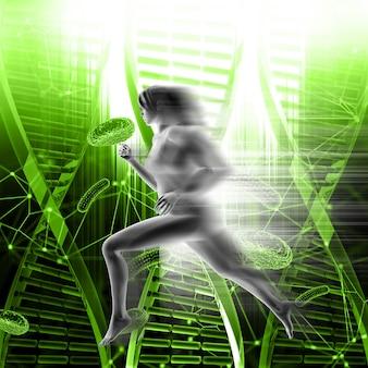 Medizinischer hintergrund 3d mit der frau, die schnell auf dna-strängen und viruszellen läuft