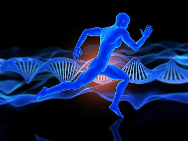 Medizinischer hintergrund 3d mit laufender männerfigur auf dna-strängen