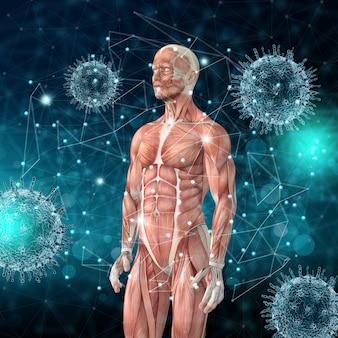 Medizinischer hintergrund 3d mit männerfigur mit muskelkarten- und viruszellen