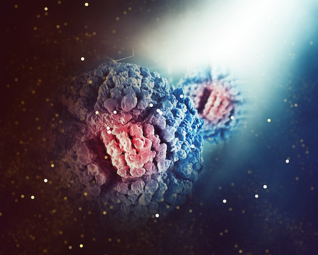 Medizinischer hintergrund mit abstrakter viruszelle