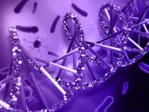 Medizinischer hintergrund mit dna-strang- und viruszellen