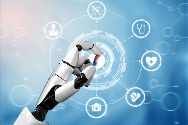 Medizinischer roboter für künstliche intelligenz mit 3d-rendering