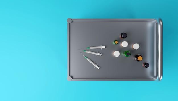 Medizinischer schrankwagen mit medizinischen spritzen, flasche und gläsern 3d-darstellung von oben