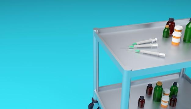 Medizinischer schrankwagen mit medizinischen spritzen, kolben und gläsern hautnah 3d-darstellung Premium Fotos