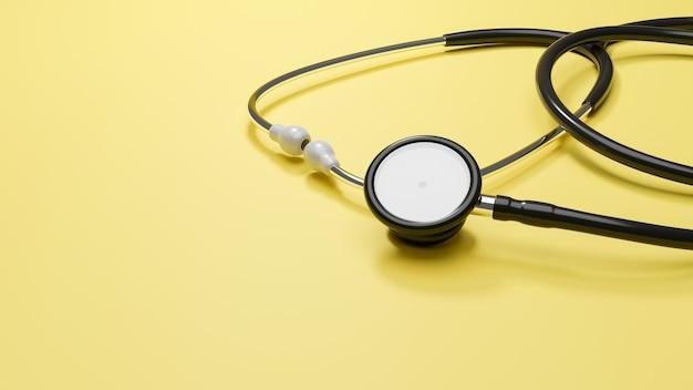 Medizinisches hintergrundplakatstethoskop mit platz für text auf gelbem hintergrund 3d-rendering