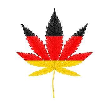 Medizinisches marihuana oder cannabis hanfblatt mit deutschland flaggenfarben auf weißem hintergrund. 3d-rendering