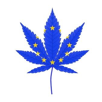 Medizinisches marihuana oder cannabis hanfblatt mit flaggenfarben der europäischen union auf weißem hintergrund. 3d-rendering