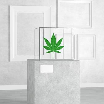 Medizinisches marihuana oder cannabis hanfblatt über sockel, bühne, podium oder säule mit glasvitrine cube in der kunstgalerie oder im museum auf weißem hintergrund. 3d-rendering