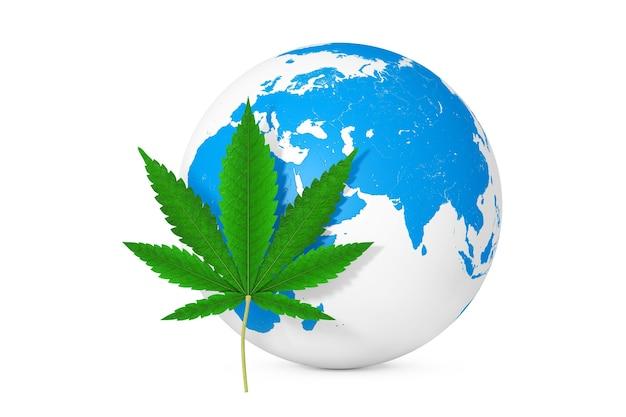 Medizinisches marihuana oder cannabis hanfblatt vor erdkugel auf weißem hintergrund. 3d-rendering