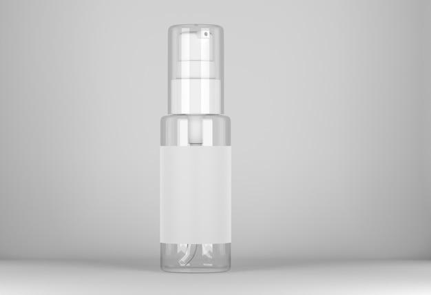 Medizinisches oder kosmetisches spraymodell. leeres sprühflaschenmodell. transparente sprühflasche mit etikett. 3d-rendering.